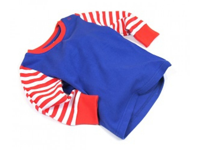 Shirt | Red White Stripe & Plain Blue